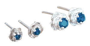 Montana Sapphire Rose Stud Earrings