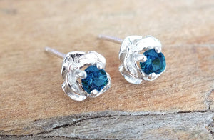 Sterling Rose Stud Montana Sapphire Earrings