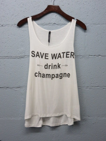 Drink Champagne Tank - Ivory