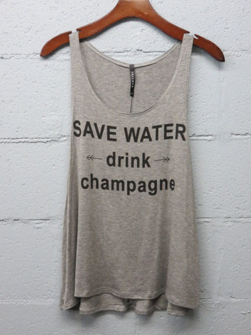 Drink Champagne Tank - Heather Grey