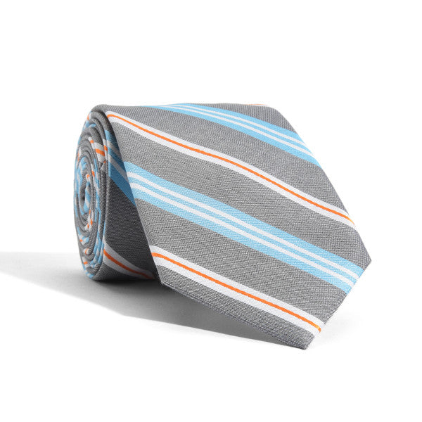 Blue + Orange Prep Stripes Tie