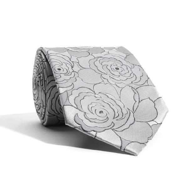 Shades of Grey Floral Tie