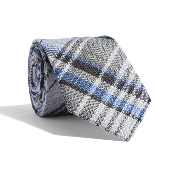 Cool Blue Plaid Tie
