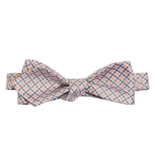 Blue + Orange Plaid Bow Tie