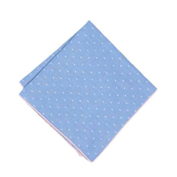 Blue Dotted Pocket Square