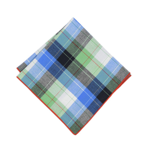 Blue + Green Plaid Pocket Square
