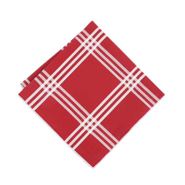 Crimson + White Plaid Pocket Square