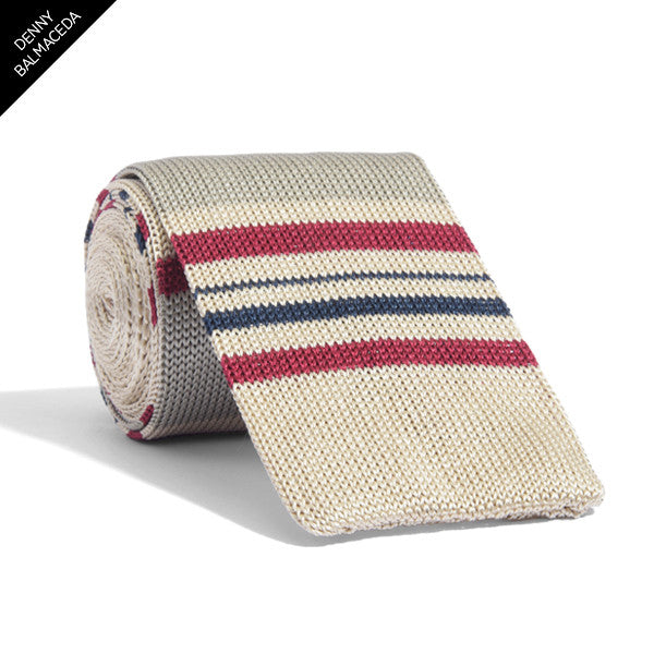 Knit Taupe Striped Tie