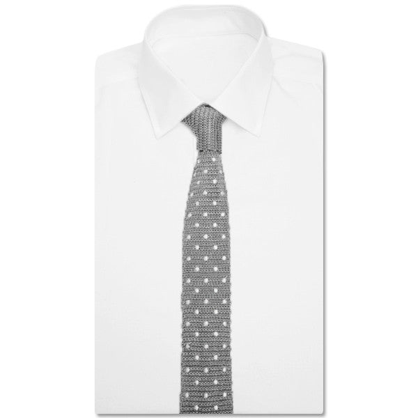Knit Grey Dotted Tie