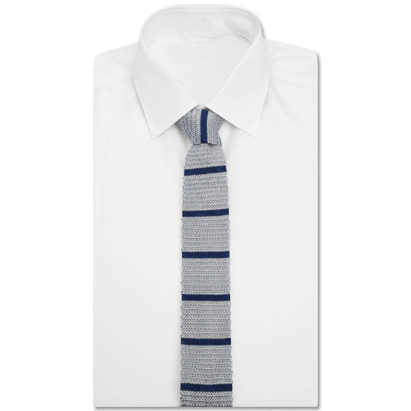Knit Grey Striped Tie