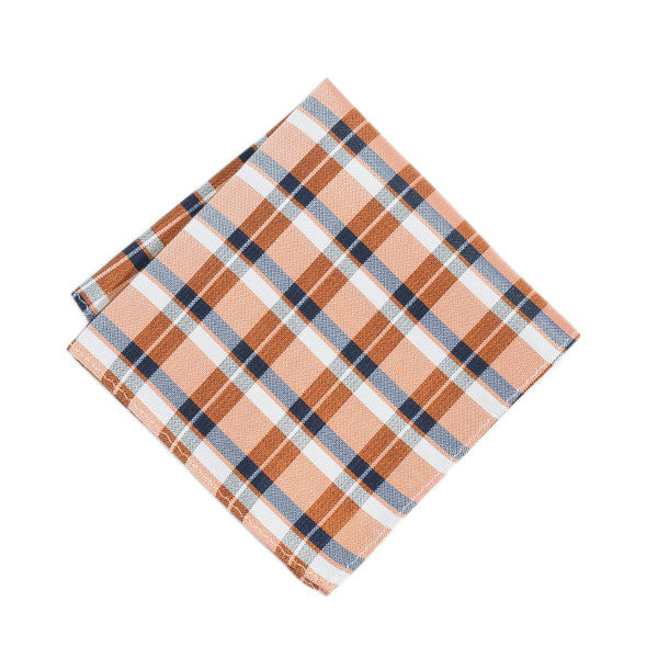 Orange Geometric Plaid Pocket Square