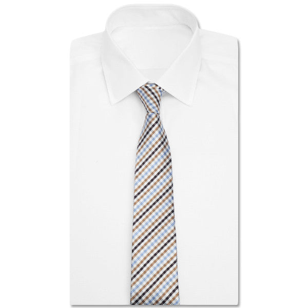 Tan + Blue Gingham Tie