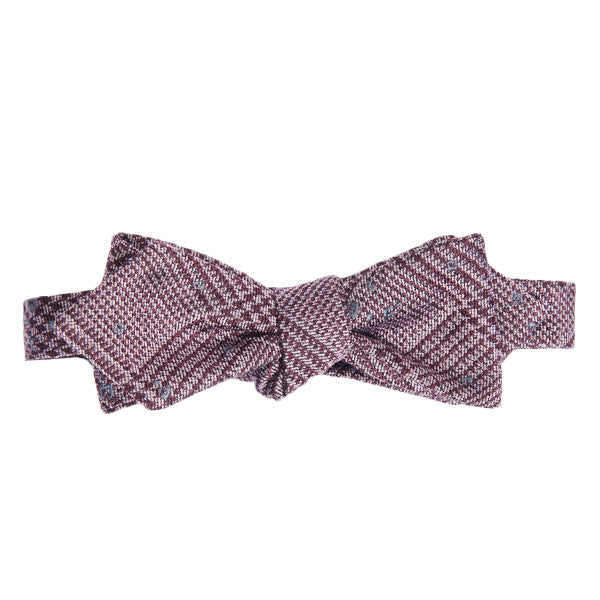 Maroon Speckled Plaid Bow Tie
