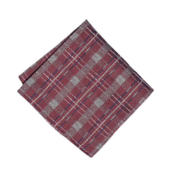 Crimson Plaid Pocket Square