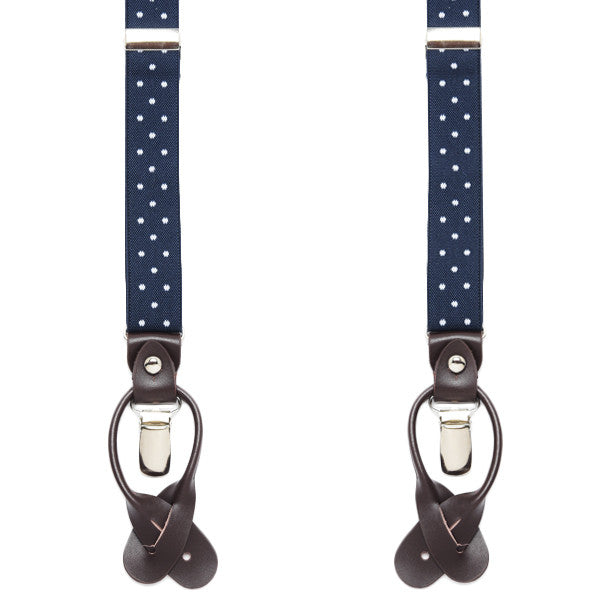 Blue + White Dotted Suspenders
