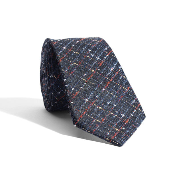 Navy Blue Speckled Checks Tie