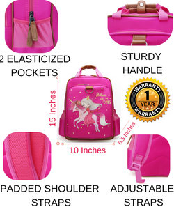"Magical Unicorn School Backpack for Kids 15"" Perfect for Kindergarten or Elementary with Padded Shoulder Straps - Lightweight, Portable, and Fun"