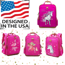 "Load image into Gallery viewer, Flamingo School Backpack for Kids 15"" Perfect for Kindergarten or Elementary with Padded Shoulder Straps - Lightweight, Portable, and Fun"