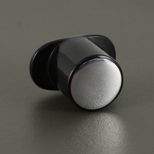 Delrin Round Labret Plug - Flush Sterling Silver Inlay