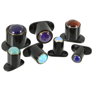 Delrin Round Labret Plug - Maker's Choice Stone Inlay