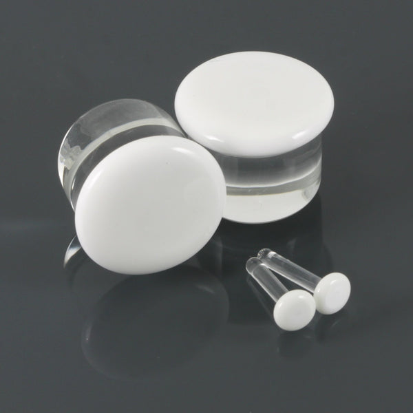 Single Flare Glass Plugs - White | 1 Piece,  - Southshore Adornments