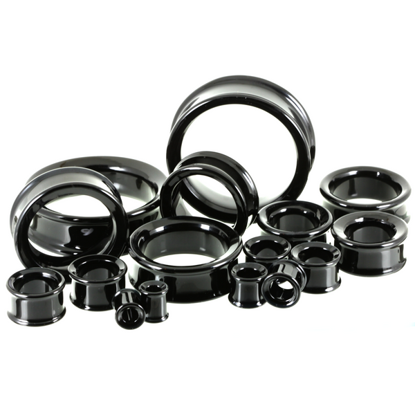 Double Flare Glass Eyelets - Black