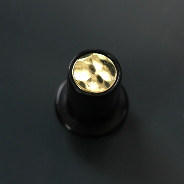 Delrin Philtrum Plug - Hammered Brass Inlay