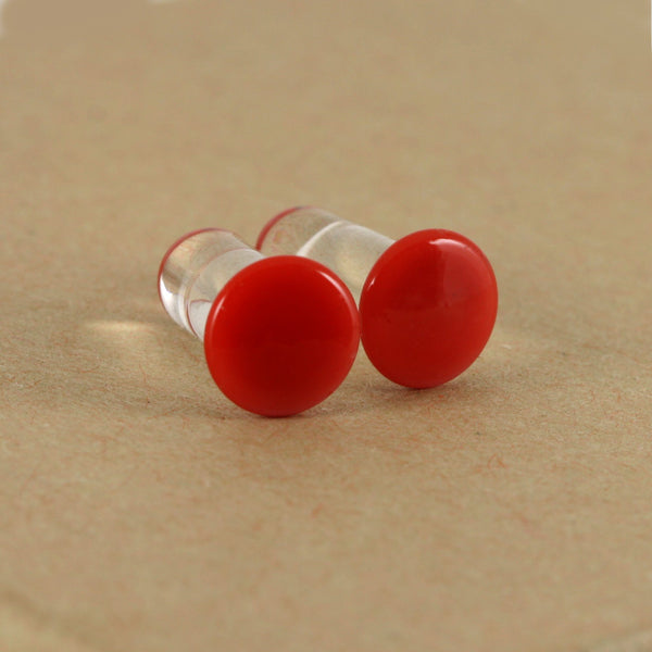 Single Flare Glass Plugs - Cherry | 1 Piece,  - Southshore Adornments