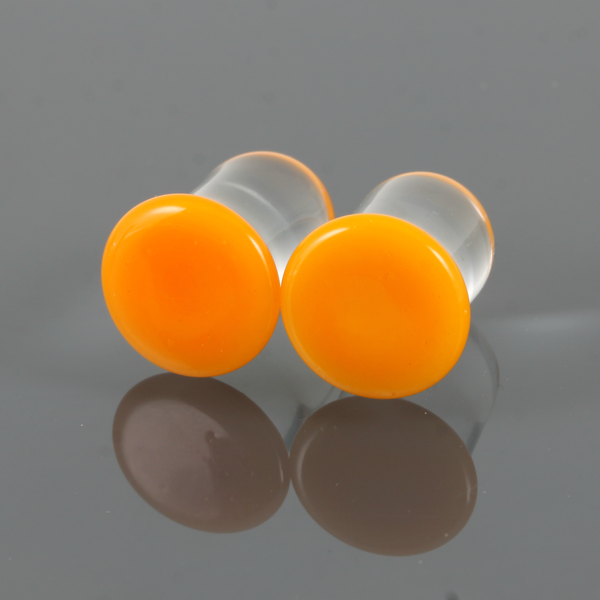 Single Flare Glass Plugs - Pumpkin | 1 Piece