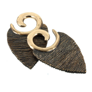 Texture Leaf Ear Weights | Bronze Southshore - 2