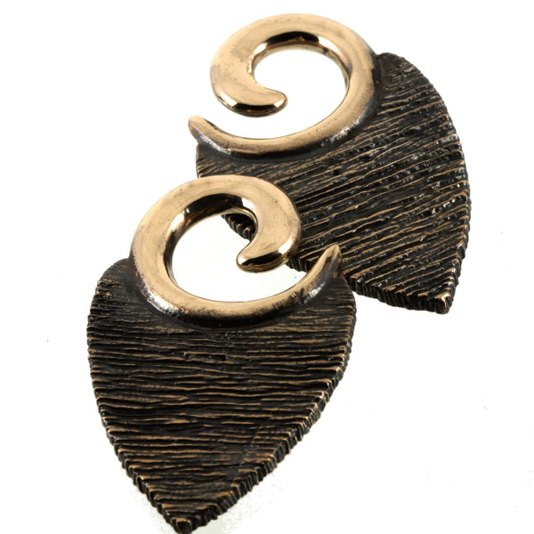 Texture Leaf Ear Weights | Bronze Southshore - 1