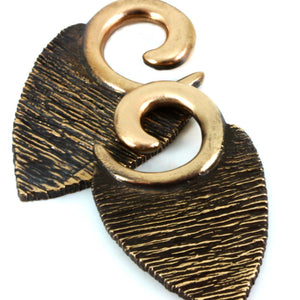 Texture Leaf Ear Weights | Bronze,  - Southshore Adornments