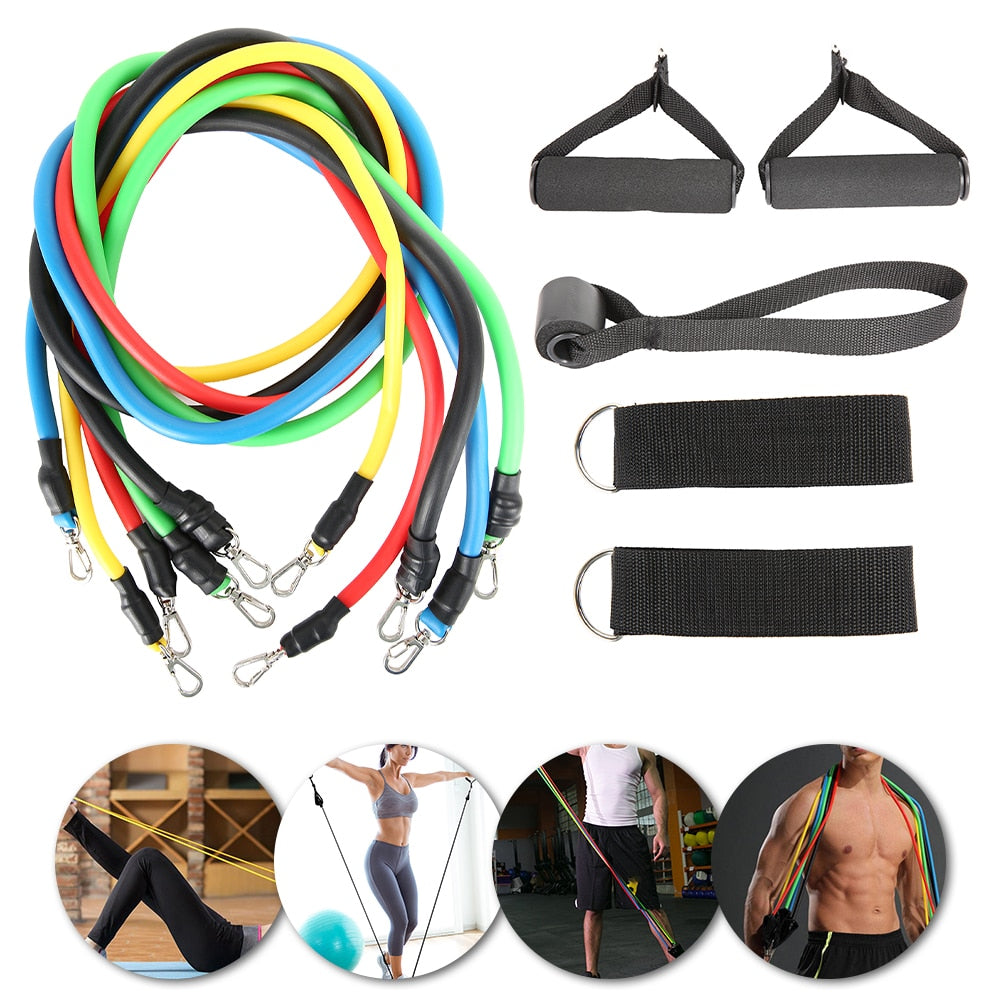 11/12pcs Fitness Pull Rope Resistance Bands