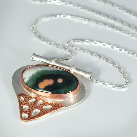 Sterling Silver and Copper Ocean Jasper Necklace
