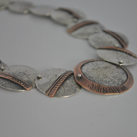 Sterling Silver Collar Necklace With Copper Accents