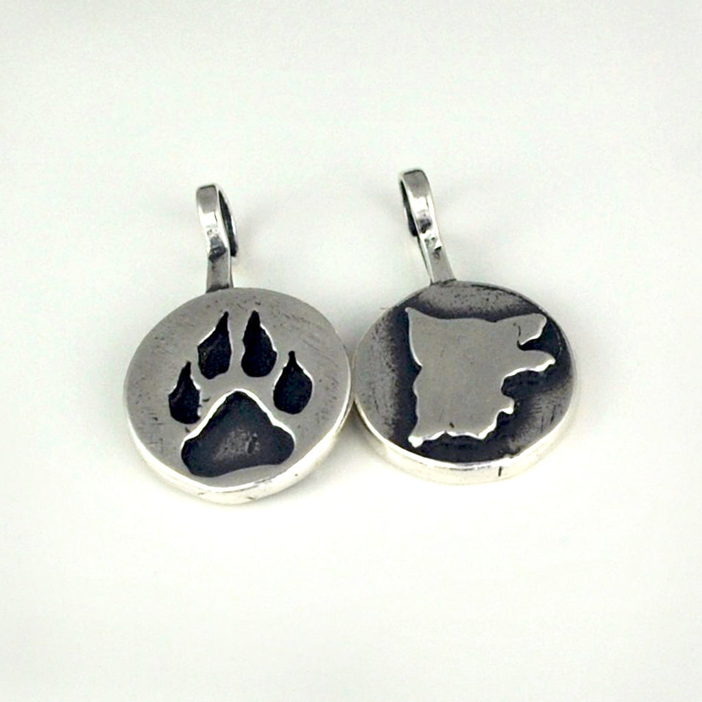 Sterling Silver Double Sided German Shepherd Dog Charm / Necklace