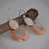 Hammered Copper and Sterling Silver Earrings