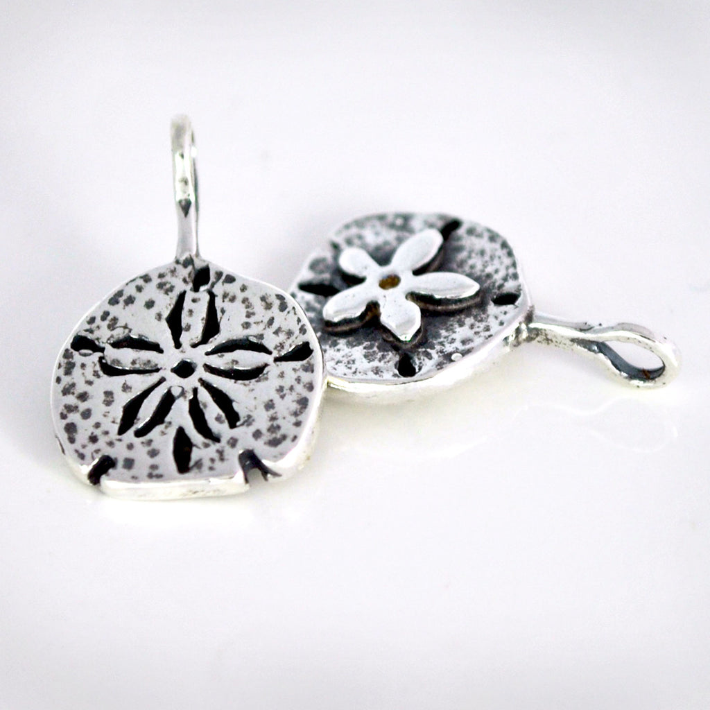 Sterling Silver Sand Dollar Charm or Charm Necklace