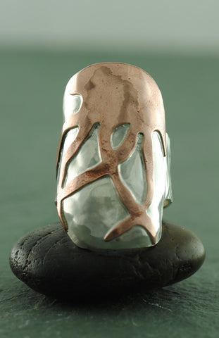 Sterling Silver and Copper Jellyfish Sheild Ring