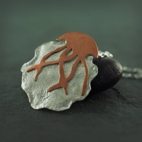 Sterling Silver and Copper Fringed JellyFish Necklace