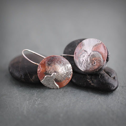 Round Copper and Sterling Silver River Mountain Earrings