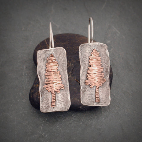 Rectangle Textured Sterling Silver and Copper Pine Tree Earrings