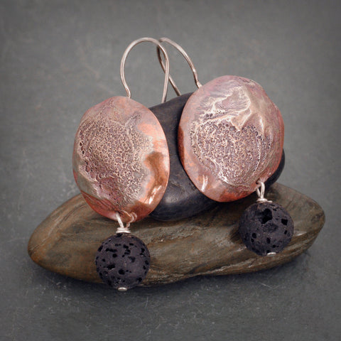 Copper and Sterling Silver Earring with Lava Bead Or Fresh Water Pearl
