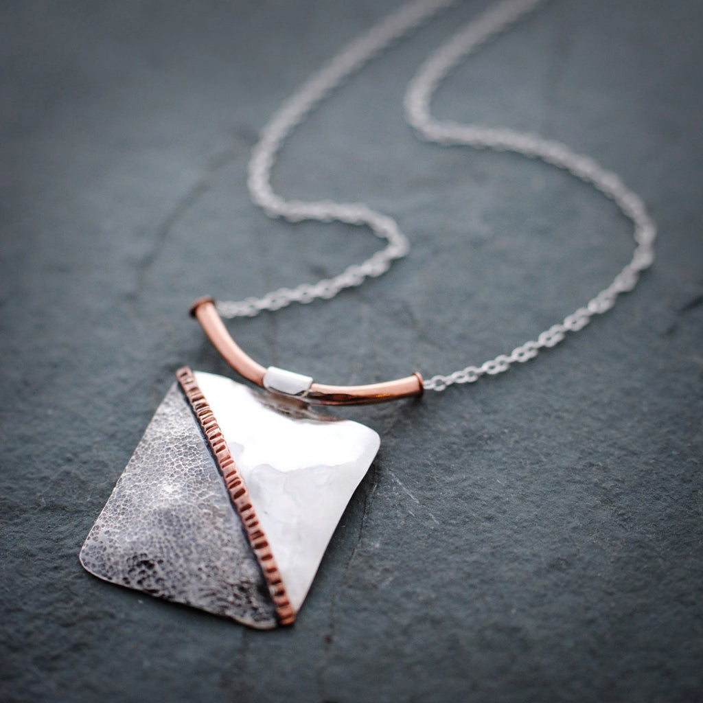 Textured Sterling Silver and Copper Tri Colored Necklace