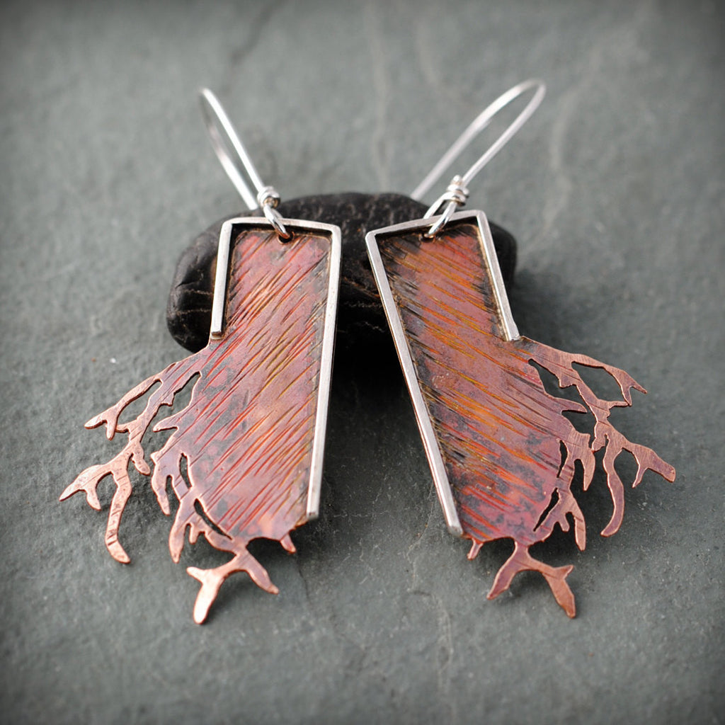 Textured Copper Branch Earrings With Sterling Silver Frame