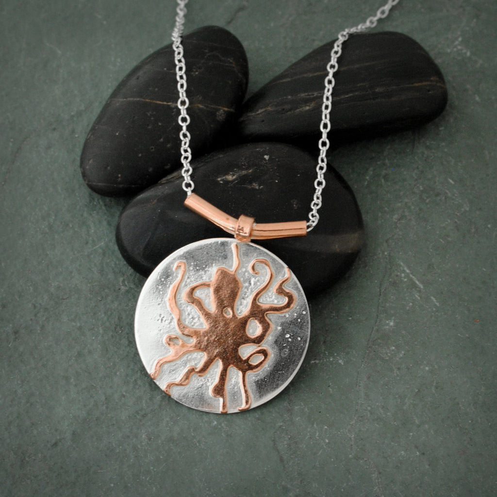 Sterling Silver and Copper Octopus Necklace