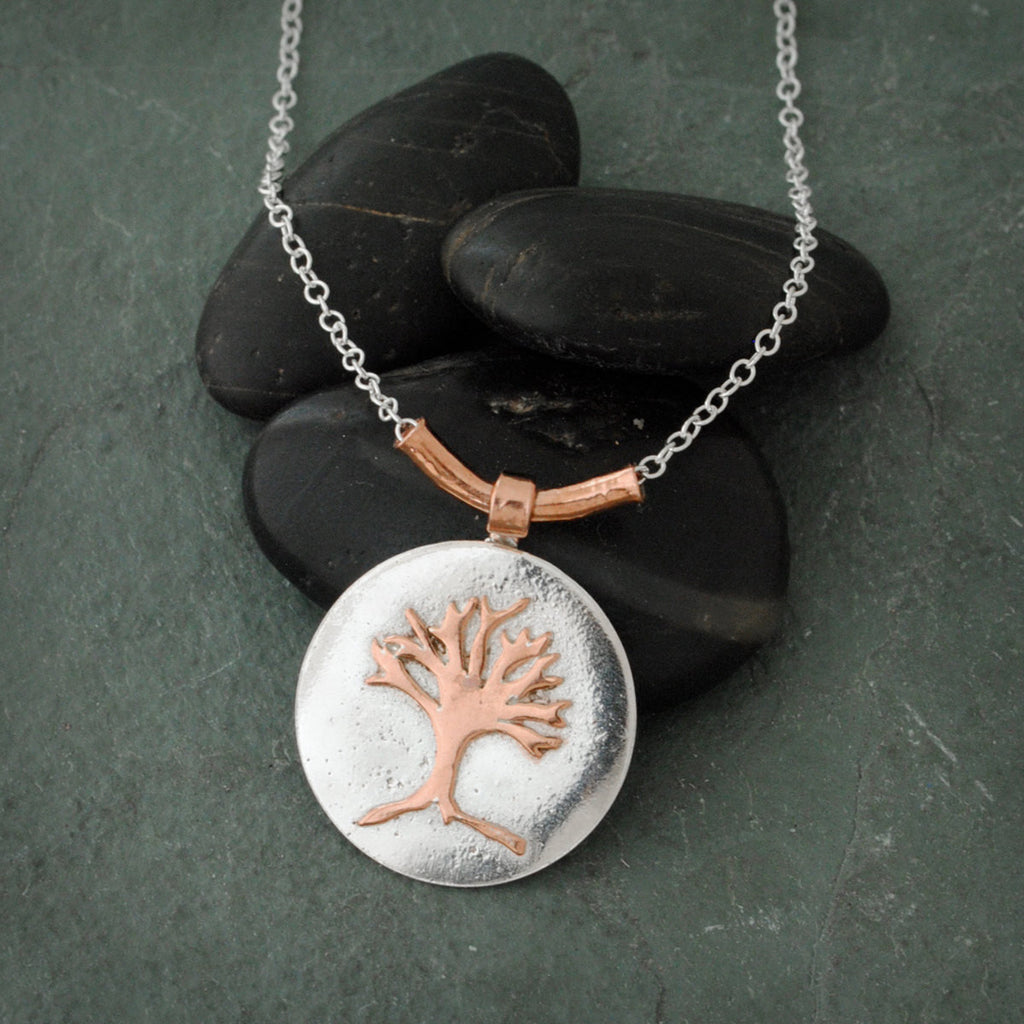 Copper and Sterling Silver Round Tree Of Life Necklace