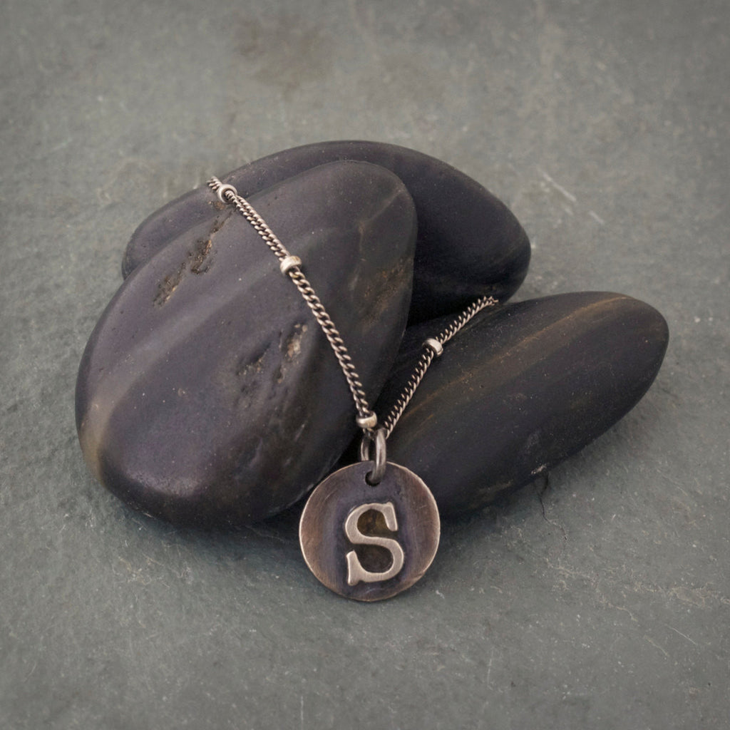 Sterling Silver Typewriter Initial Necklace