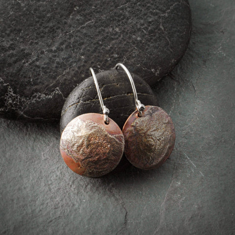 Round Copper and Sterling Silver Flow Dangle Earrings