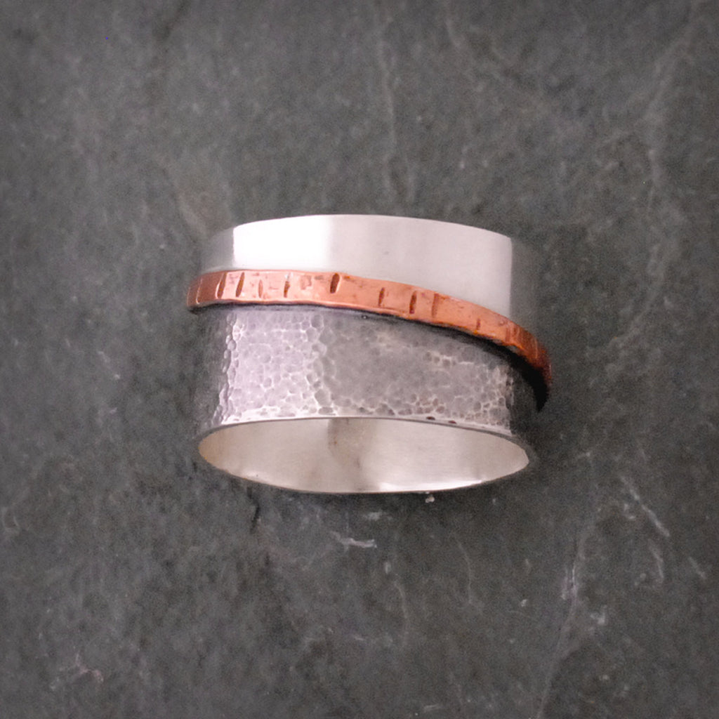 Sterling Silver and Copper Textured Tri-Colored Band Ring